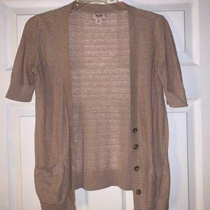 Women's tan short-sleeve button up cardigan small